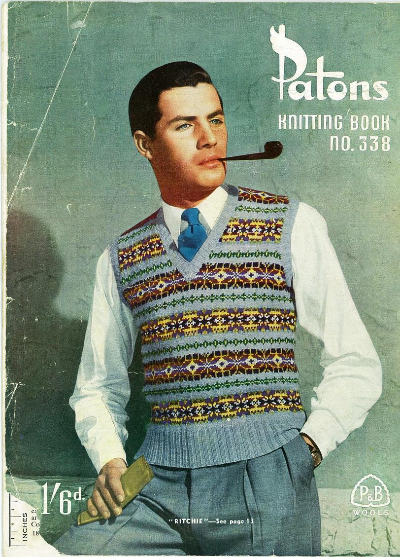 mens fair isle vest knitting pattern vintage 1950s 1940s