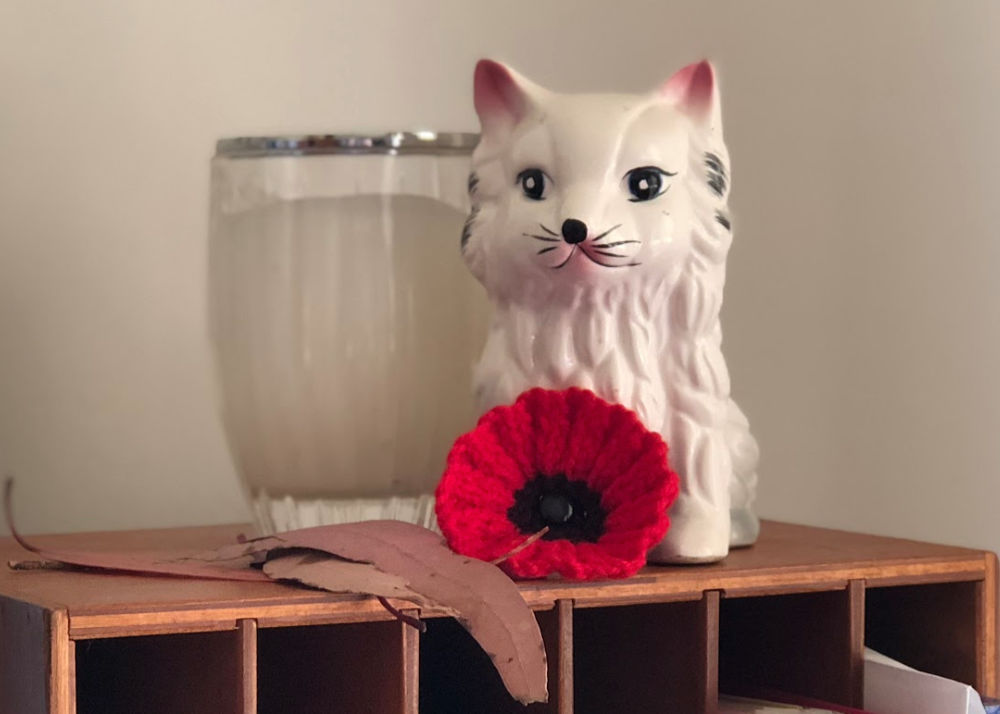 knitted poppy